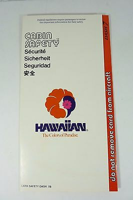 Original Vintage 1980s HAWAIIAN AIRLINES Cabin Safety Card 7B 3/88 1988 NOAG