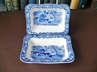 Late 19th c George Jones Blue & White Shredded Wheat Dishes Abbey Pattern