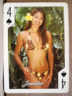 2004 Hooters Asian Calendar Girl Jennifer 4 Spades Playing Card Sexy Hot Bikini
