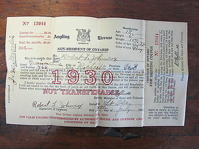 1930 Ontario Canada Fishing Angling License NON-RESIDENT Canadian