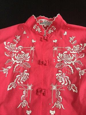 Vintage Hand Embroidered Chinese Blouse Mandarin Collar Fabric Knot  Buttons
