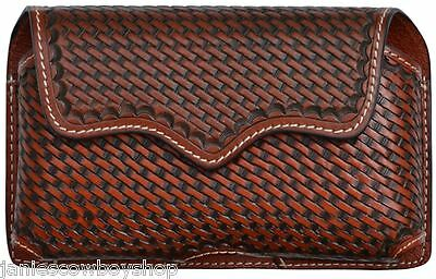GENUINE LEATHER CELL PHONE HOLDER BASKET WEAVE  MAHOGANY  5 1/2 x3.5RODEO COWBOY
