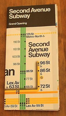 NYC Second Avenue Subway MTA Grand Opening Map Brand New!