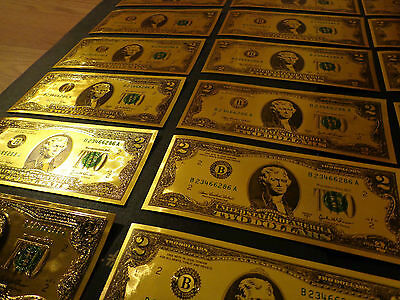 Gold Plated 2 Dollar Usa  Note-Green Seal-Each In Rigid Pvc Bill Holder,new Item