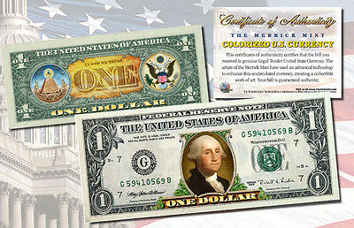 NEW Genuine Legal Tender 2 SIDE COLORIZED $1 US Bill GEORGE WASHINGTON IN COLOR
