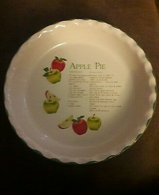 Dennis East Stoneware Apple Pie Plate & Recipe - FREE SHIPPING