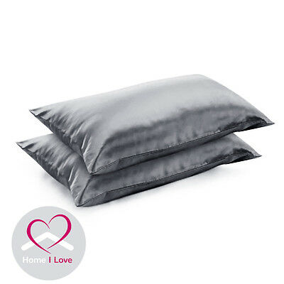 Mulberry 22mm Silk Charcoal Pillowcases Set Of 2 AntiAgeing Pamper Skin&Hair