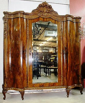 Antique Louis XV French Burl Walnut  3 Door Mirrored Armoire Wardrobe Circa 1890