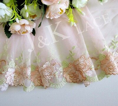 19 cm width Elegant Pale Pink /White /Apricot Embroidery Mesh Lace Trim