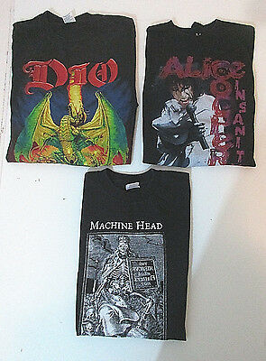 3pc LOT ROCK  1999-2001 T-Shirts ALICE COOPER-MACHINE HEAD-DIO Punk Metal - L