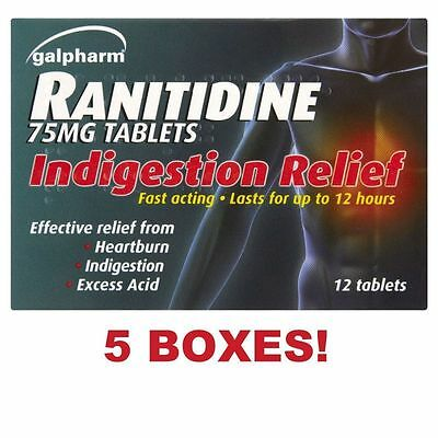 5 x RANITIDINE 75mg TABLETS RELIEF - HEARTBURN INDIGESTION EXCESS ACID**Free Pos