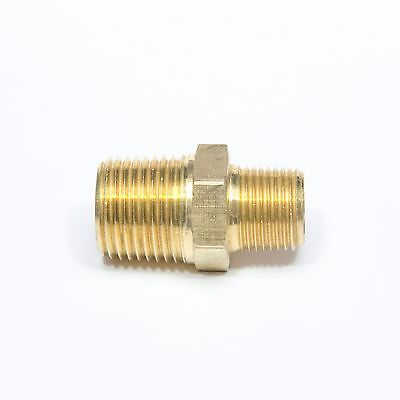 "Reducer 1/2""x 3/8"" Male NPT Hex Nipple Brass Fitting WOG FasParts Fuel, Oil, Gas"