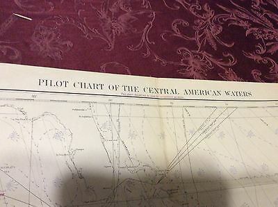 Vintage circa 1950 USC&GS Chart Map -Pilot chart Central America waters