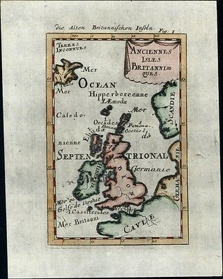 Ancient British Isles Iceland Great Britain 1719 charming antique engraved map