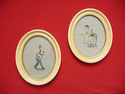 SET Of 2 Vnt Wall Framed Pictures Oval Embroidered Man Lady w/ Rose Needlecraft