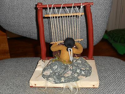 Vintage Indian Doll at Weaving Loom - With Papoose