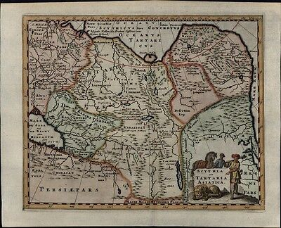 Scythia Asian Tartary Persia Russia Korea China 1729 antique map decorative