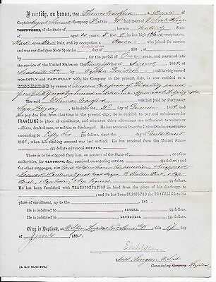 1865 CIVIL WAR H COMPANY - 41th REGIMENT U. S. COLORED TROOPS DISCHARGE + PAY