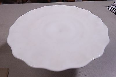 Vintage Indiana Glass Milk Scalloped Teardrops Cake Stand Plate Wedding Shower