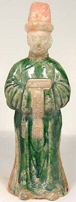 Ming China 15thC Antique Large Sancai Ceramic Statuette Male Personal Attendant