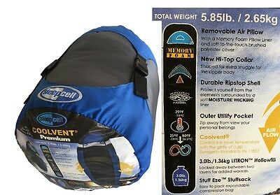 SLEEPCELL COOL VENT PREMIUM EXTRA LARGE SLEEPING BAG Air Pillow Comfortable NEW