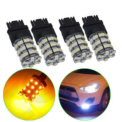 4x 3157 T25 60SMD Dual Color Switchback Led White Amber Turn Signal Light Yellow