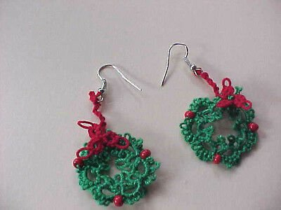 Tatted Wreath Green Earrings 1 inch Red Beads Christmas Tatting by Dove Country