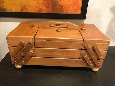 Vintage Accordion Fold Out Wooden Sewing Box Dovetail Basket Cabinet Romania