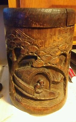 Antique Chinese carved bamboo Brush Pot Pencil Vase