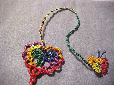 1 Tatted Bookmark Heart Butterfly Cord Rainbow  Lace New Tatting by Dove Country