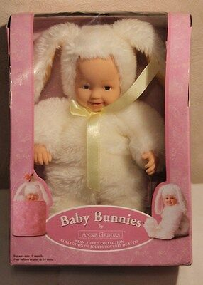 "NEW Anne Geddes Baby Bunny 8"" Plush Bean Bag Doll Blue Eyes Factory Sealed 2006"