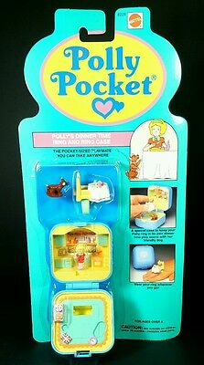 *NEW* Polly Pocket 1992 POLLY'S DINNER TIME RING AND CASE Vintage Bluebird