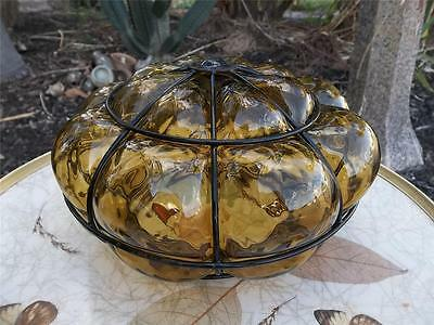 Vtg MID CENTURY MODERN OPTIC BUBBLE AMBER GLASS CEILING LIGHT FIXTURE SHADE