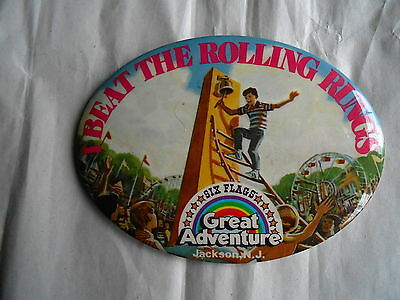 Lg Vintage Six Flags Great Adventure Jackson NJ Rolling Rungs Souvenir Pinback