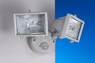 Twin Head Flood Light With Motion Sensor and Multi-Swivel Design