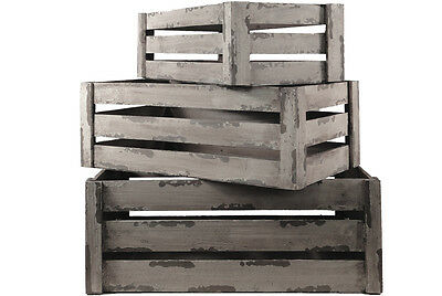3Set Wood Nested Vintage Rustic Shabby Chic Crates/Storage Boxes/Box Decoration