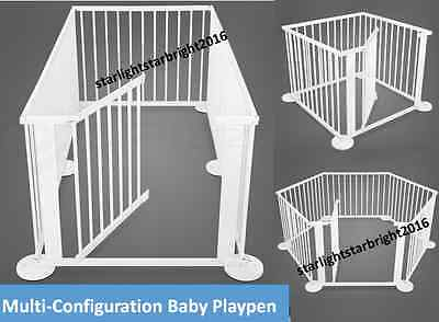 Baby Playpen Toddler Safety Gate Play Pen Barrier Nanny Gate Wooden Frame Panel