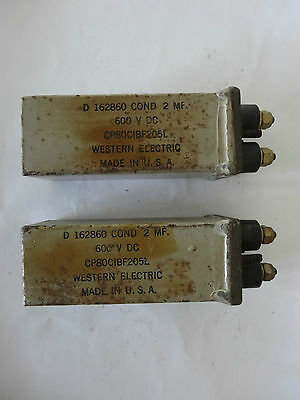 Vintage Western Electric D162860 2MF 600VDC Capacitors - a pair