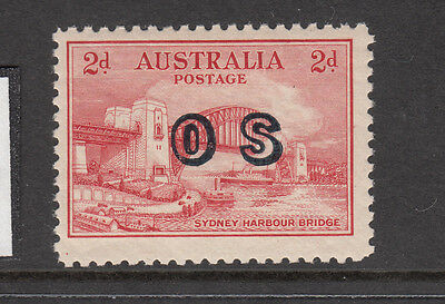 1932 2d red Harbour bridge OS Overprint Mint Lightly Hinged