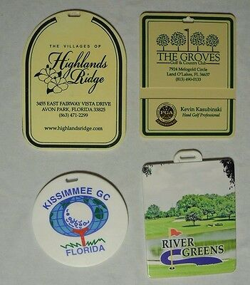 Golf Bag Tags From Florida Kissimmee The Groves Highland Ridges Set of 4 Plastic