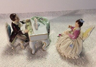 Dresden Like Porcelain Piano with Man and Woman Signed