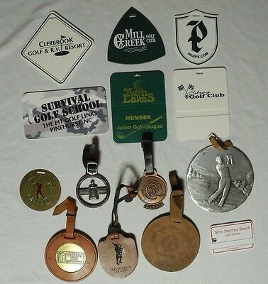 Lot of Golf Bag Tags Metal Leather Plastic Wendell August Forge Muirfield PGA