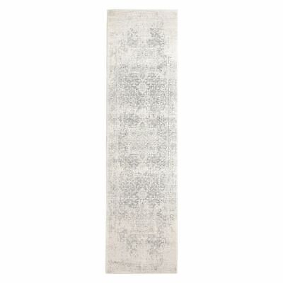 NEW Rug Culture Valiente Oriental Runner Rug, Bone/Silver