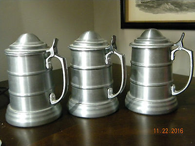 set of 3 vintage aluminum tankards/steins/mugs w/clear bottoms and lids