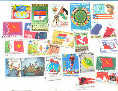 Flags on stamps 200 all different collection mailnly large-medium size