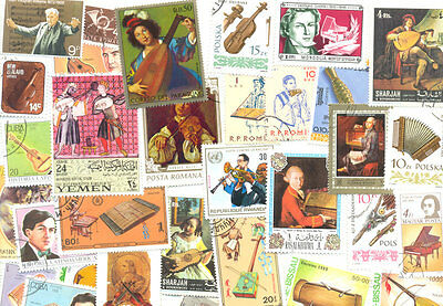 Music-collection 500 all different stamps-Instruments-Composers-singers-thematic