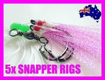 5x SNAPPER RIGS FISHING TACKLE LUMO 5/0 60LB OCTPUS CIRCLE HOOKS FLASHER PINK