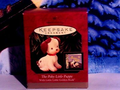 The Poky Little Puppy`1999`With A Little Golden Book,Hallmark Christmas Ornament