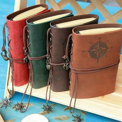 Portable Vintage Pirate Design Travel Retro Leather Cover Notebook Journal B
