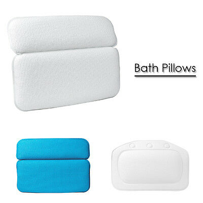 White Blue Relaxing Bath Pillow Case with Strong Suction Cups Spa Nest Headrest